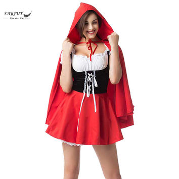 Halloween Costumes For Women Sexy Cosplay Little Red Hood Cloak And Dress Fantasy Game Uniforms Fancy Costume Outfit