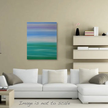 Minimalist Seascape Pastel Beach Ocean Painting - Canvas Acrylic Wall Art - Turquoise, Blue, Green, Purple - 24 x 30 Vertical- FREE SHIPPING