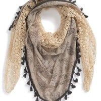 Junior Women's BP. Floral Print Tassel Trim Scarf
