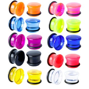 BodyJ4You Plugs Set Acrylic Single Flare Mixed Colors 12G-20mm Piercing Jewelry Kit 20 Pieces