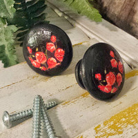 Handmade 1.5 Inch Knobs Drawer Pull Set, 6 Red Poppy Flower Knobs, Dresser Knob Pulls, Red and Black Decor, We Make Customized Orders