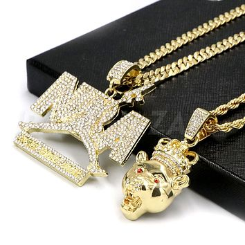Iced Out NBA NEVER BROKE AGAIN / LION CROWN Pendant W/ Cuban & Rope Chain Set.