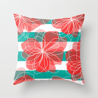 Camelia Coral and Turquoise Throw Pillow by Allison Holdridge | Society6