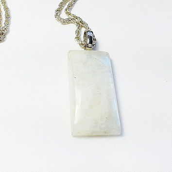 Moonstone, white irredescent pendant necklace, rectangle moon stone, free gift box
