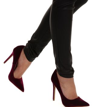 Wine Velvet Pointed Toe Pump