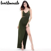 Sexy Green Cut Out Irregular Maxi Dress