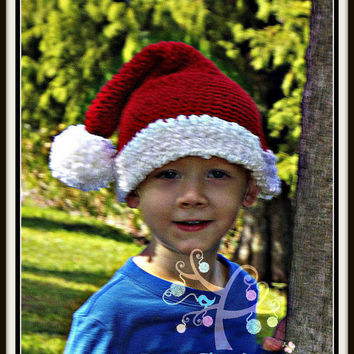 Crochet Santa Hat, Red and White Pom Pom Christmas Hat, Baby Holiday Hat, Kids Festive Cap, Crochet Holiday Photoprop