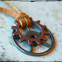 Mens Gears Necklace Gear Necklace Mens Explorer Necklace Gears and Leather