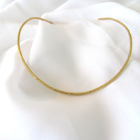 Hammered brass collar necklace, gift under 50