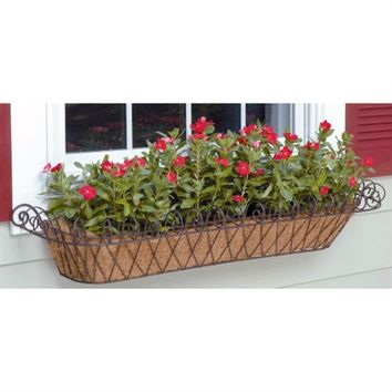 SheilaShrubs.com: Large Metal French Window Box with Coco Liner WB120 by Deer Park Ironworks: Planters