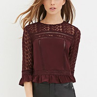 Crochet-Trim Ruffle Top