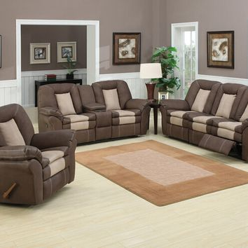 2 pc Carson collection two tone chocolate bonded leather and stone nubuck fabric upholstered sofa and love seat