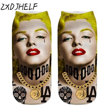 ZXDJHELF Harajuku 3D Printing Socks Marilyn Monroe Art Cotton Sock Character Pattern Women Men Design Sox Novelty Funny S041