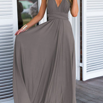 Grey Deep V Neck Self-Tie Maxi Dress