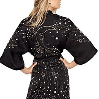 Victoria's Secret Robe Celestial Kimono Dream Angels Black Moon and Stars XS/S
