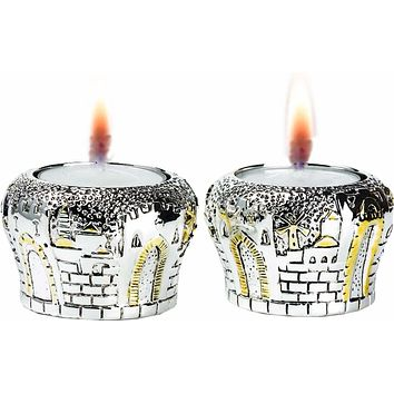 Candle Holders Jerusalem Gates Silver