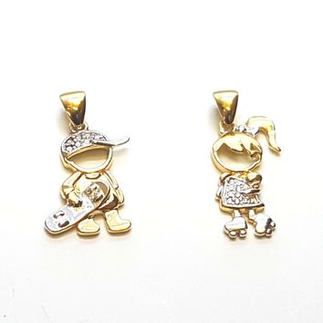 "(1-2198-h8-1) Gold Overlay Two Tone ""My Kids"" Pendants, 1""."