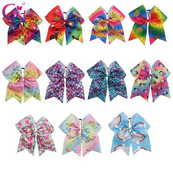 """11 Pieces/lot 7"""" Unicorn Cheer Bows With Rubber Band For Girls Kids Handmade Mermaid Cheerleading Hair Bows Hair Accessories"""