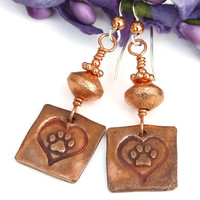 Dog Rescue Copper Paw Print and Hearts Earrings, Handmade Artisan Dangle Jewelry