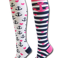 2 pair ANCHOR socks :: Socks & Woozies :: Lacrosse :: SportsKatz | Girls Sports Apparel and Teamwear