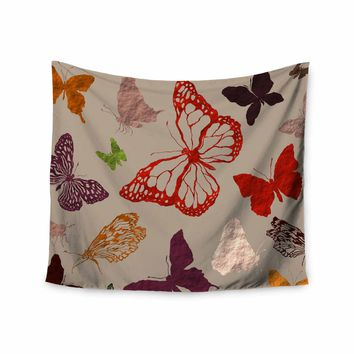 """bruxamagica """"Fall Butterfly's"""" Beige Multicolor Animals Nature Illustration Mixed Media Wall Tapestry"""