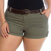 Every Day Adventure Plus Size Belted Shorts - Olive