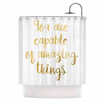 "NL Designs ""Amazing Things"" Gold White Shower Curtain"