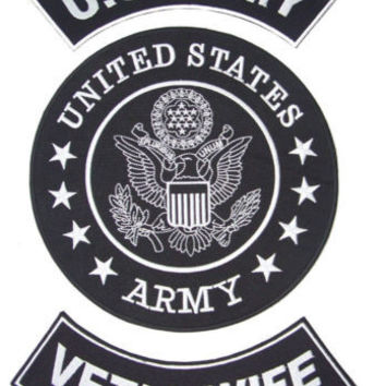 US ARMY VET'S WIFE ROCKERS BACK PATCHES SET FOR BIKER MOTORCYCLE VEST JACKET