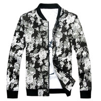 Floral Printed Contrast Trim Zip Up Sweater