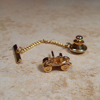 Sarah Coventry Vintage Tie Tack Lapel Pin Gold Tone Car Automobile Auto Convertible Dune Buggy Mens Formal Jewelry Gift Business Accessories