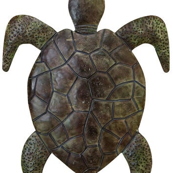 Classic Walking Turtle Metal Wall Decor Sculpture With Detailing