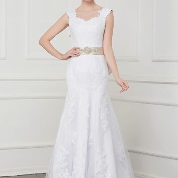 C.V Double Shoulder Cap Sleeve Vintage Mermaid Wedding Dresses With Belt Lace Appliques Custom Made Plus Size Bridal Gowns W0070