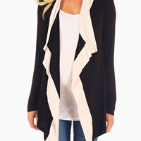 White Black Colorblock Flowy Maternity Cardigan