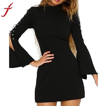 FEITONG Hot Sale Autumn Bandage Dress Women vestido Solid Bandge Casual Flare Sleeve Zipper Solid Black Red White Mini Dress