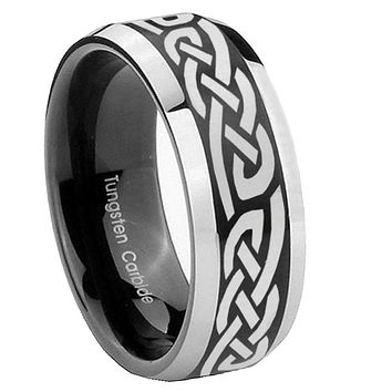 8mm Celtic Knot Infinity Love Beveled Edges Brush Black 2 Tone Tungsten Rings for Men