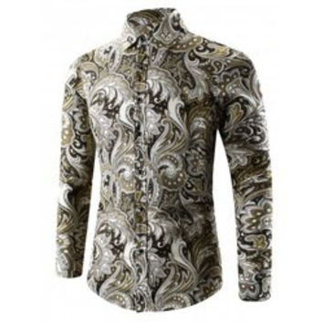 Turn-Down Collar 3D Paisley Printed Shirt
