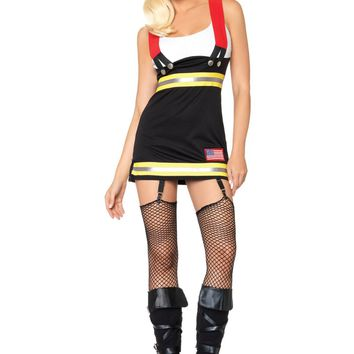Backdraft Babe Firefighter Costume (Medium,Black/White)