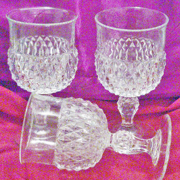 Three Stunning Vintage Indiana Glass\ Diamond Point, Pattern Wine / Water Goblets