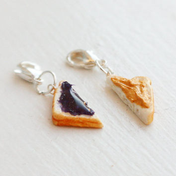 Peanut Butter and Grape Jelly Charms - Miniature Food Charm