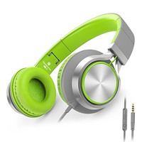 AILIHEN C8 Foldable Headphones with Microphone and Volume Control for iPad iPhone iPod Tablets Android Smartphones Laptop Computer PC Mp3/4 (Gray/Green)