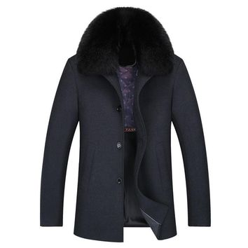 Casual Big Fur Collar Mens Winter Coats Wool Thick Long Overcoat Wool Men