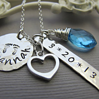Mother's Mommy Necklace Personalized Birthdate, Monogram Necklace, Sterling Silver, Mommy Necklace, Heart Charm