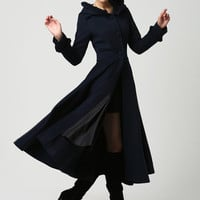 Dark blue coat wool jacket long women coat (1102)