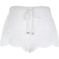 River Island Womens Cream lace drawstring shorts