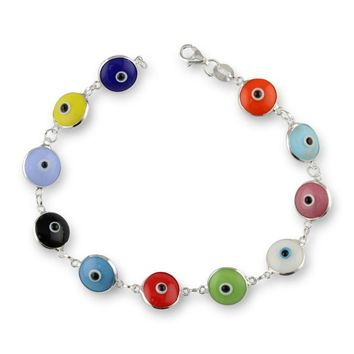 Womens Solid 925 Sterling Silver Evil Eye Multicolor 10mm Lucky Bracelet