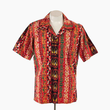 Vintage 60s HAWAIIAN SHIRT / 1960s Men's Red Tribal Tropical Print Cotton Aloha Shirt M