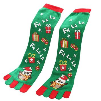 Creazy Toe Socks Christmas Women Casual Socks Cute Unisex Long Socks (c)