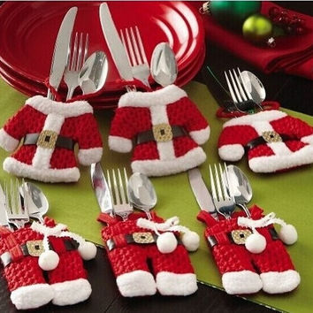 1 Pcs Small Xmas Clothesbags And Red Pants Cutlery Christmas Crafts Christmas Dinnerware Sets 1 Xmas clothe plus 1 Xmas red pant #lcmq = 1946692356