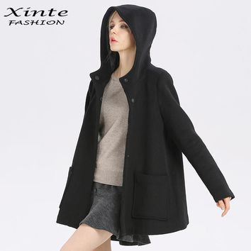 2017 High Quality Women Jacket 90% Wool Coat Hood Outwear Cloak Black Grey Spring A-line Clothing