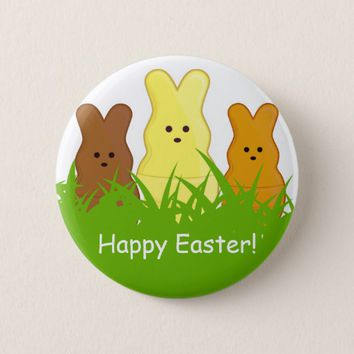 Cute Easter Bunnies Round Button
